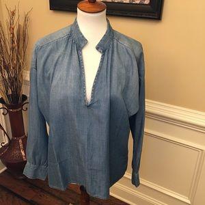 Cloth & Stone Split Neck Chambray Shirt Sz M